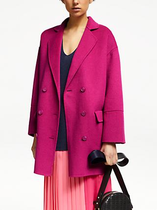 John Lewis & Partners Revere Double Breasted Coat, Pink Sorbet
