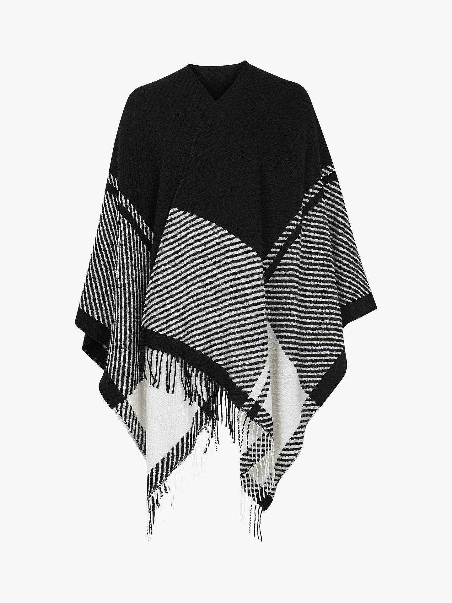 Buy Reiss Jessy Wool Check Shawl, Black/White, One Size Online at johnlewis.com