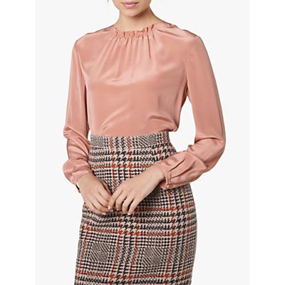 L.K.Bennett Gill Ruche Detail Silk Top, Dusky Pink