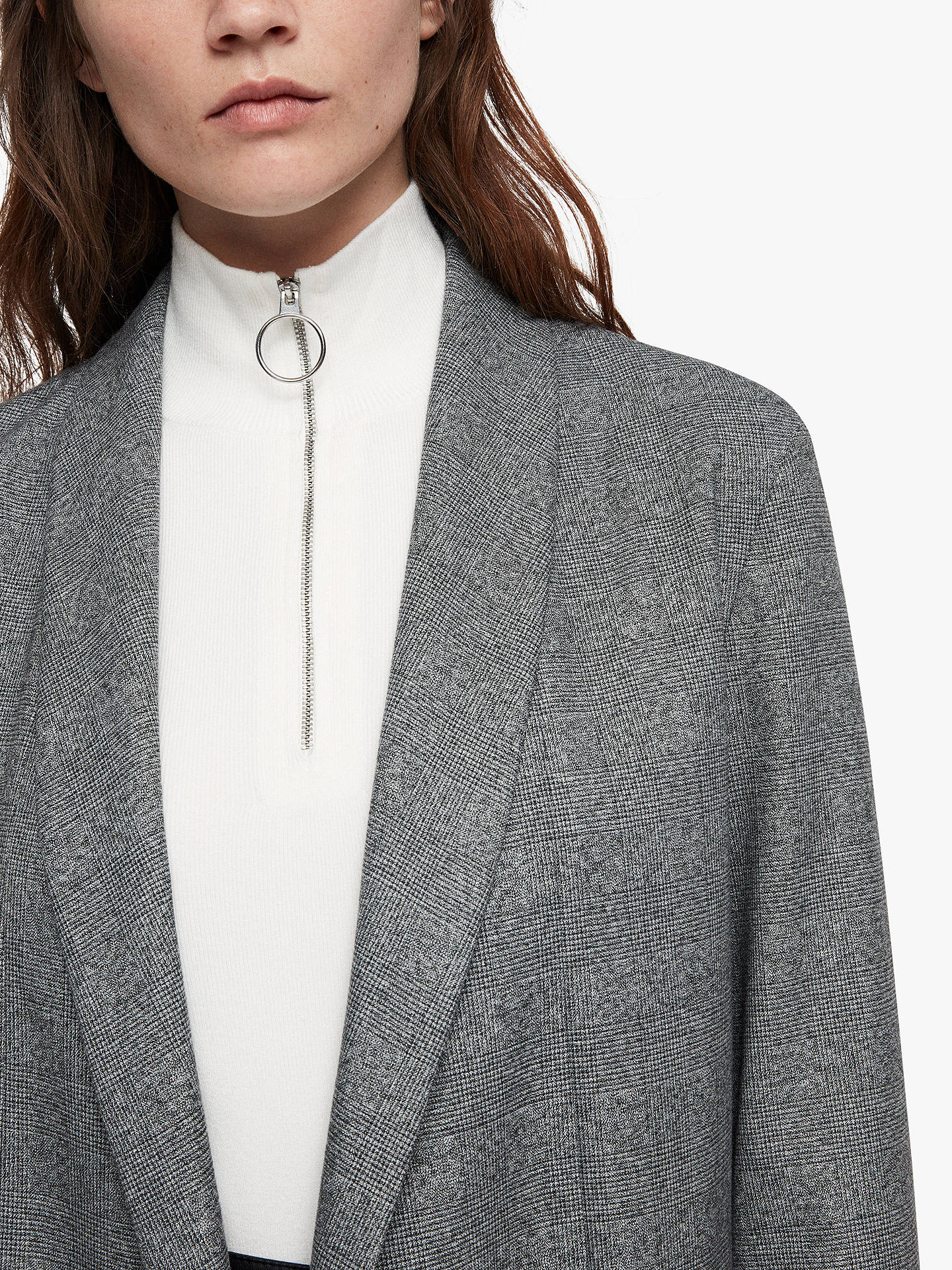 Buy AllSaints Harriet Check Blazer, Pale Grey, 10 Online at johnlewis.com