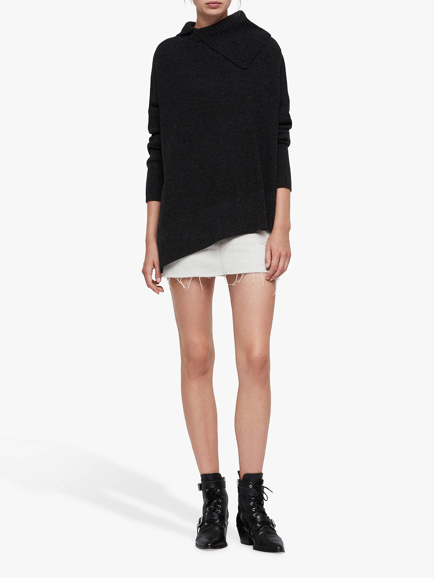 BuyAllSaints Hettie Asymmetric Collar Jumper, Cinder Black Marl, L Online at johnlewis.com