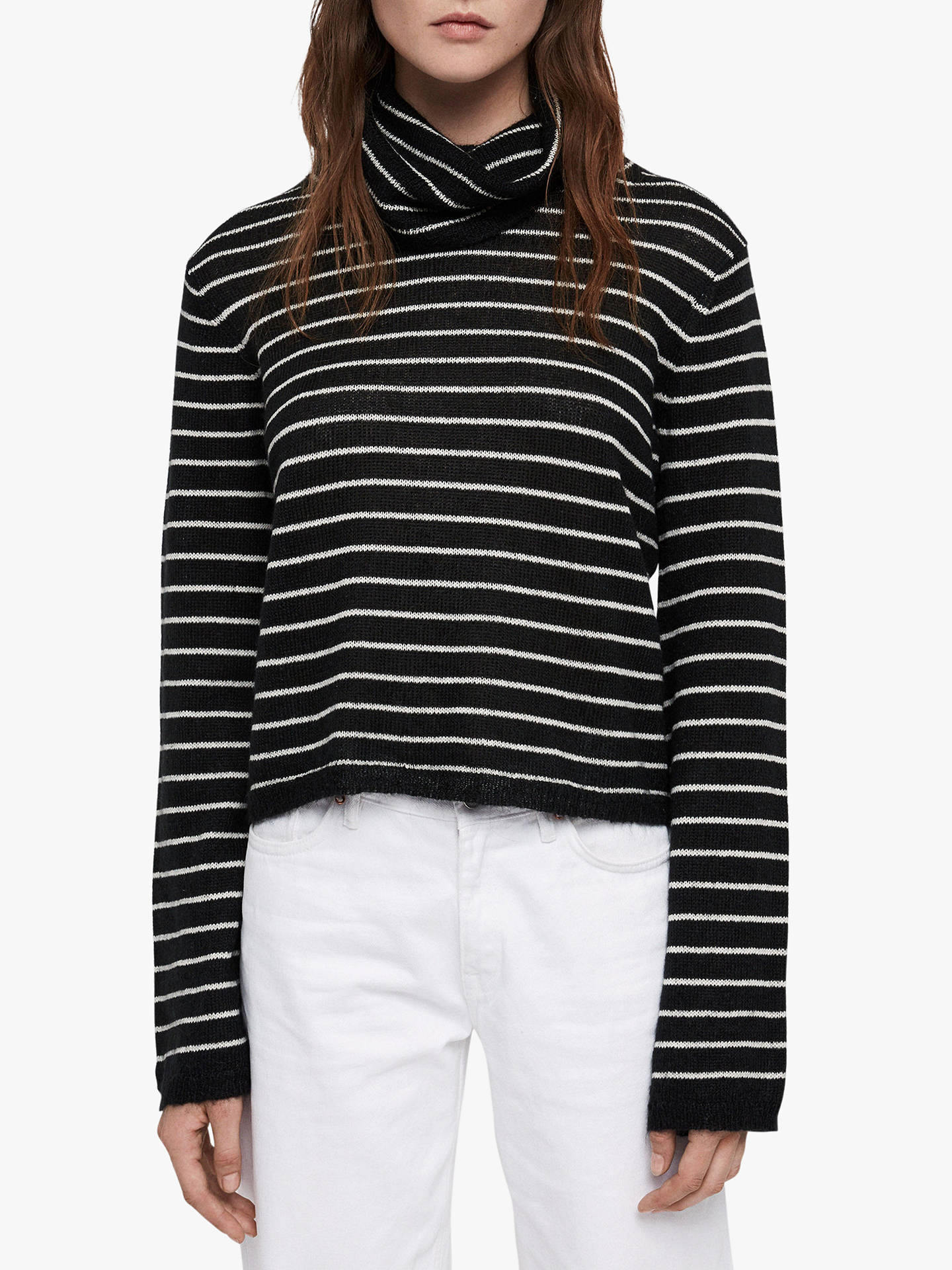 BuyAllSaints Marty Roll Neck Jumper, Black/White, M Online at johnlewis.com