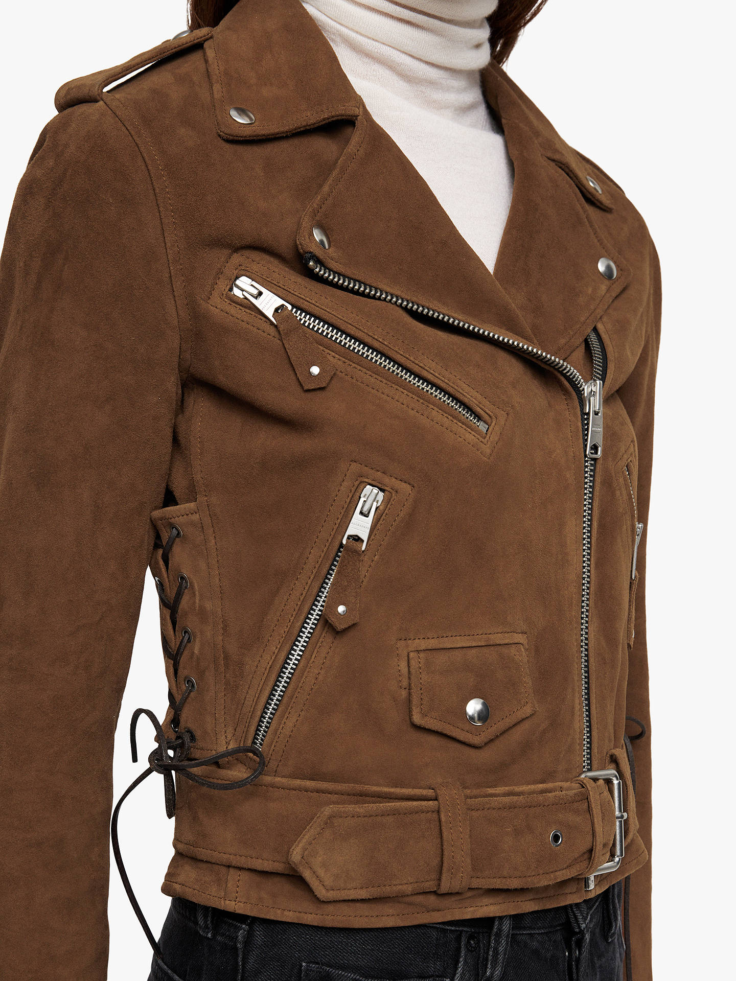 Buy AllSaints Sarana Suede Biker Jacket, Tan Brown, 10 Online at johnlewis.com