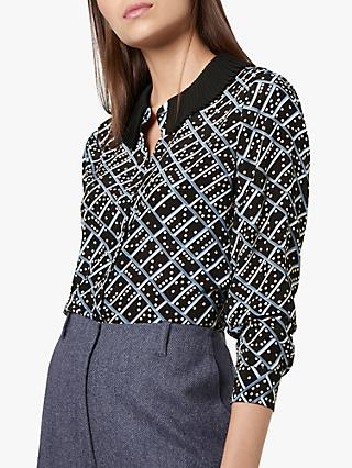 L.K.Bennett Lotte Domino Print Silk Blouse, Black