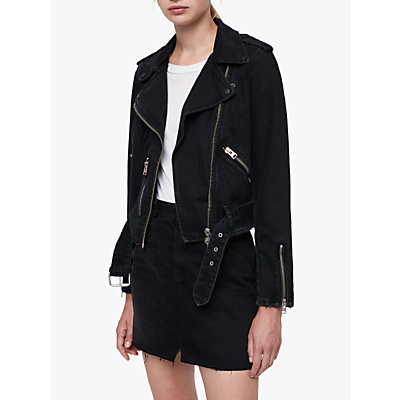 AllSaints Balfern Denim Biker Jacket, Black