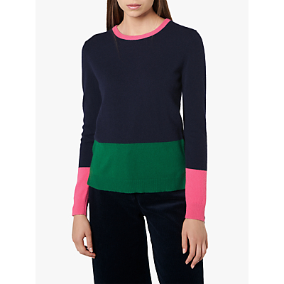 L.K.Bennett Carina Colour Block Round Neck Jumper, Multi/Sloane Blue