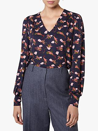 L.K.Bennett Carrie Abstract Floral Top, Sloane Blue