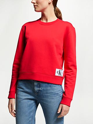 Calvin Klein Jeans Boxy Monogram Logo Sweatshirt, Racing Red