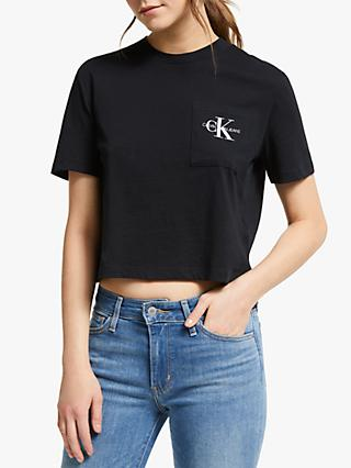 Calvin Klein Monogram Pocket Logo Cropped T-Shirt, Black