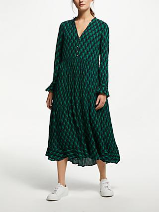 Y.A.S Yasgraffy Buttoned Long Sleeve Dress, Botanical Garden Green