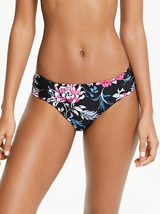 Seafolly Ruched Side Floral Print Bikini Bottoms, Black
