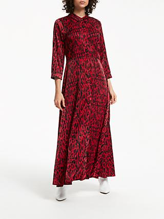 Y.A.S Animal Print Midi Shirt Dress, Red Leo