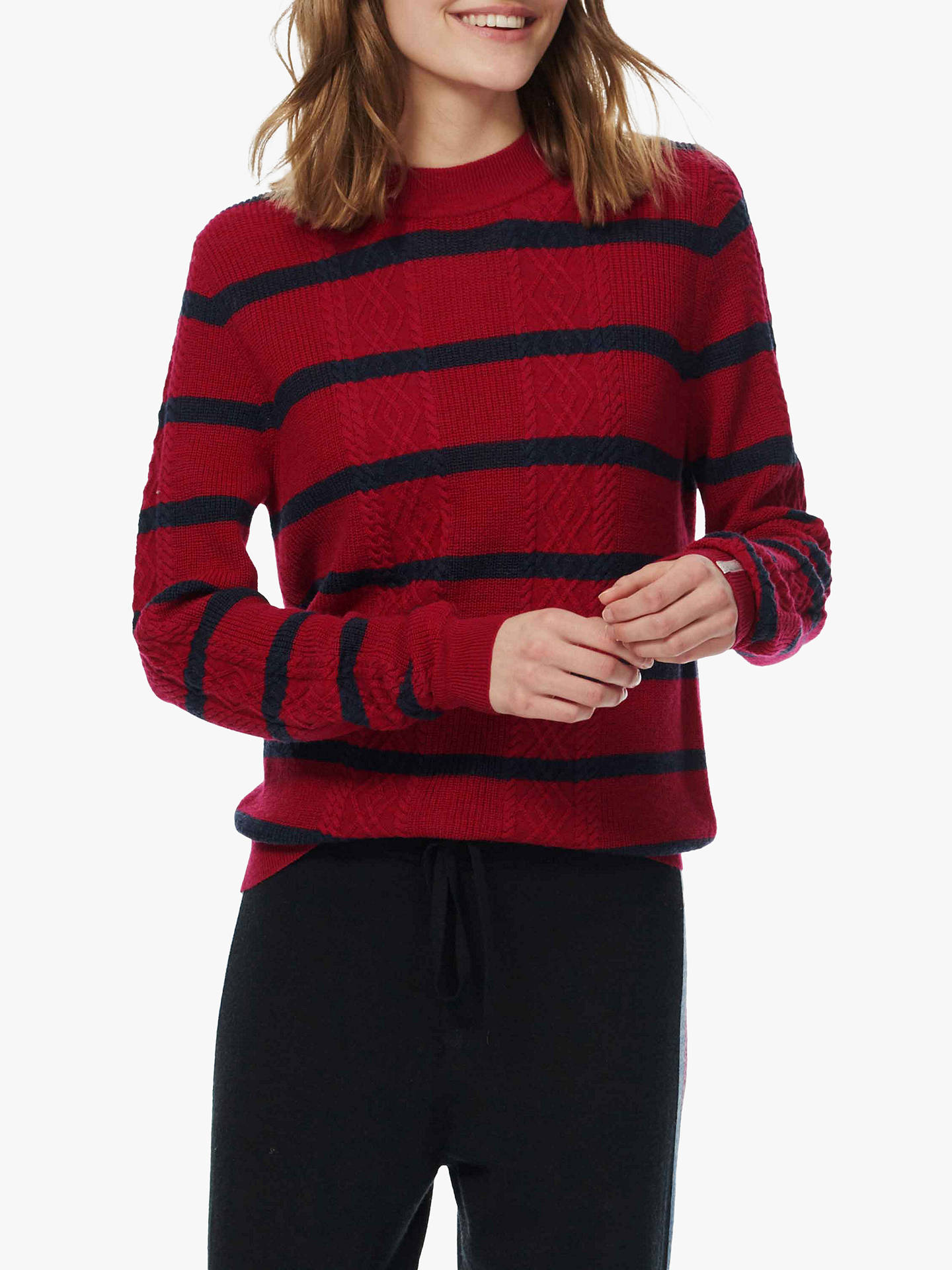 BuyBrora Merino Cable Stripe Jumper, Ruby & Ink, 8-10 Online at johnlewis.com