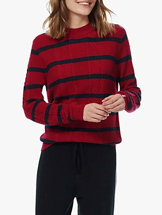 Brora Merino Cable Stripe Jumper, Ruby & Ink