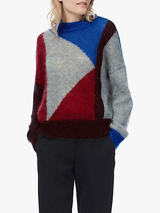 Brora Colour Block Knit Jumper, Red/Cobalt/Silver
