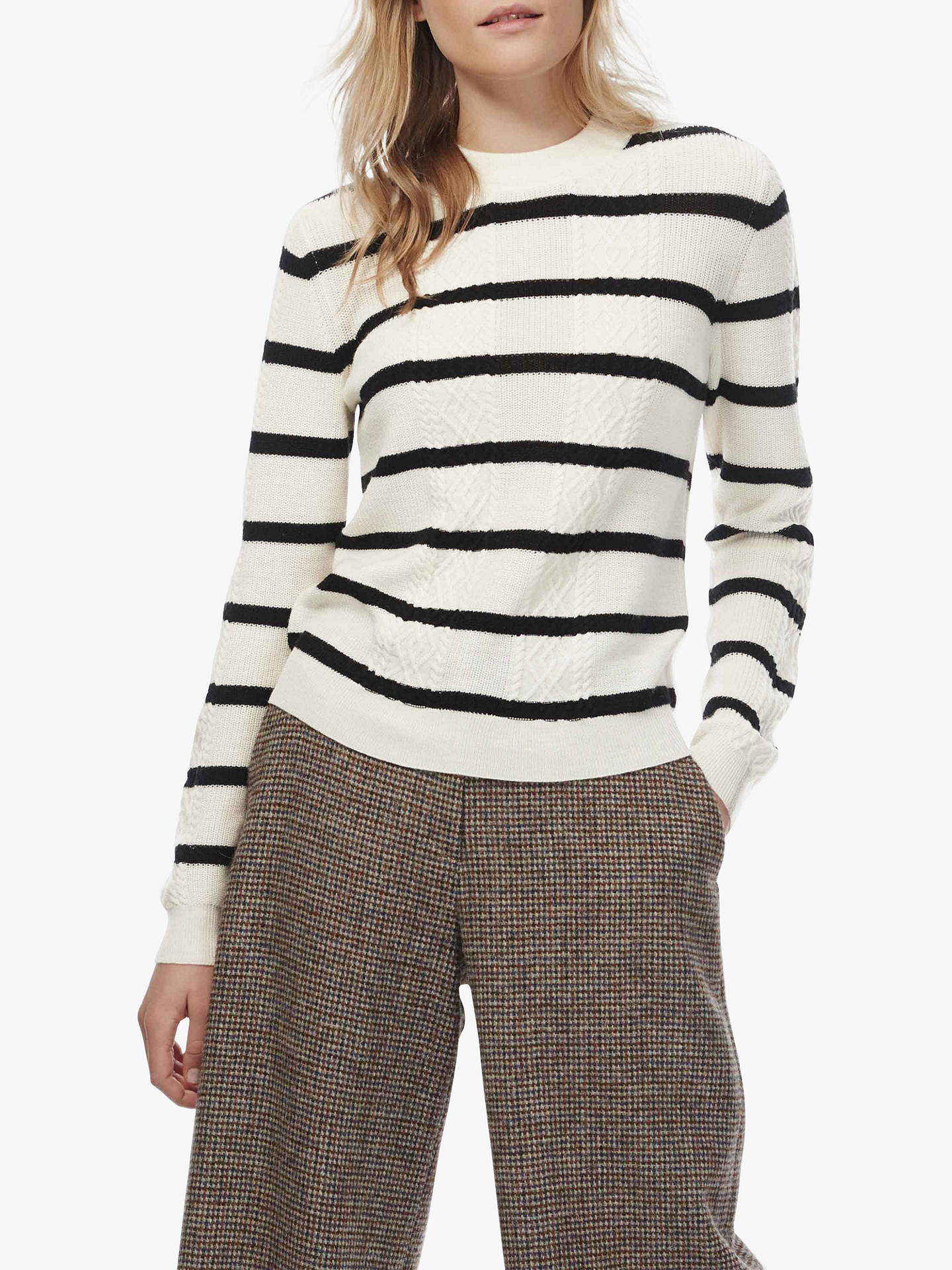 Buy Brora Merino Cable Knit Striped Jumper, Ivory/Black, 8-10 Online at johnlewis.com