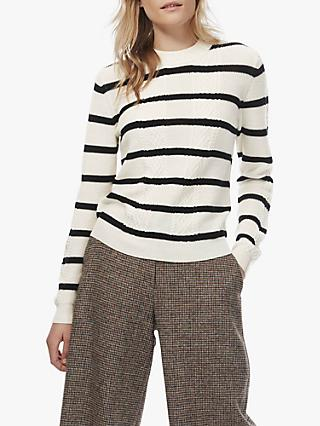Brora Merino Cable Knit Striped Jumper, Ivory/Black
