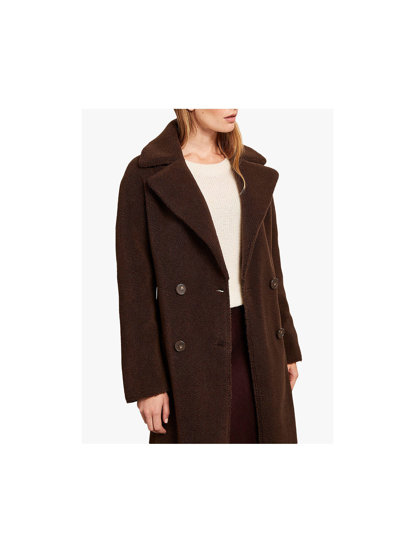 Brown Long Length Teddy Coat Charlotte from Femme Luxe on 21 Buttons