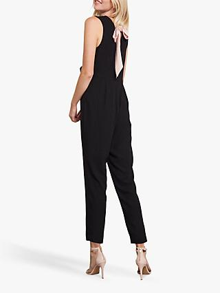 Mint Velvet Sleeveless Tie Back Jumpsuit, Black