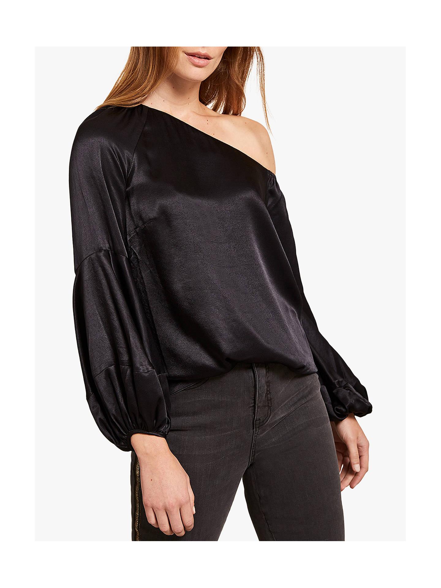 420adaa35c5d8 ... Buy Mint Velvet One Shoulder Satin Long Sleeve Top