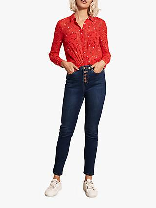 Mint Velvet Joliet High Waist Button Skinny Jeans, Dark Blue