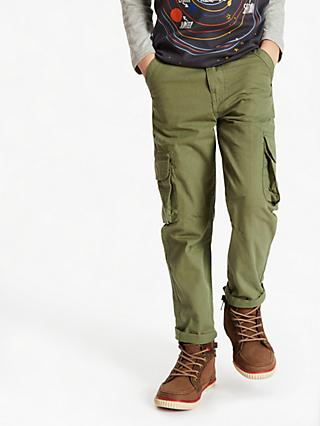John Lewis & Partners Boys' Lined Cargo Trousers, Green