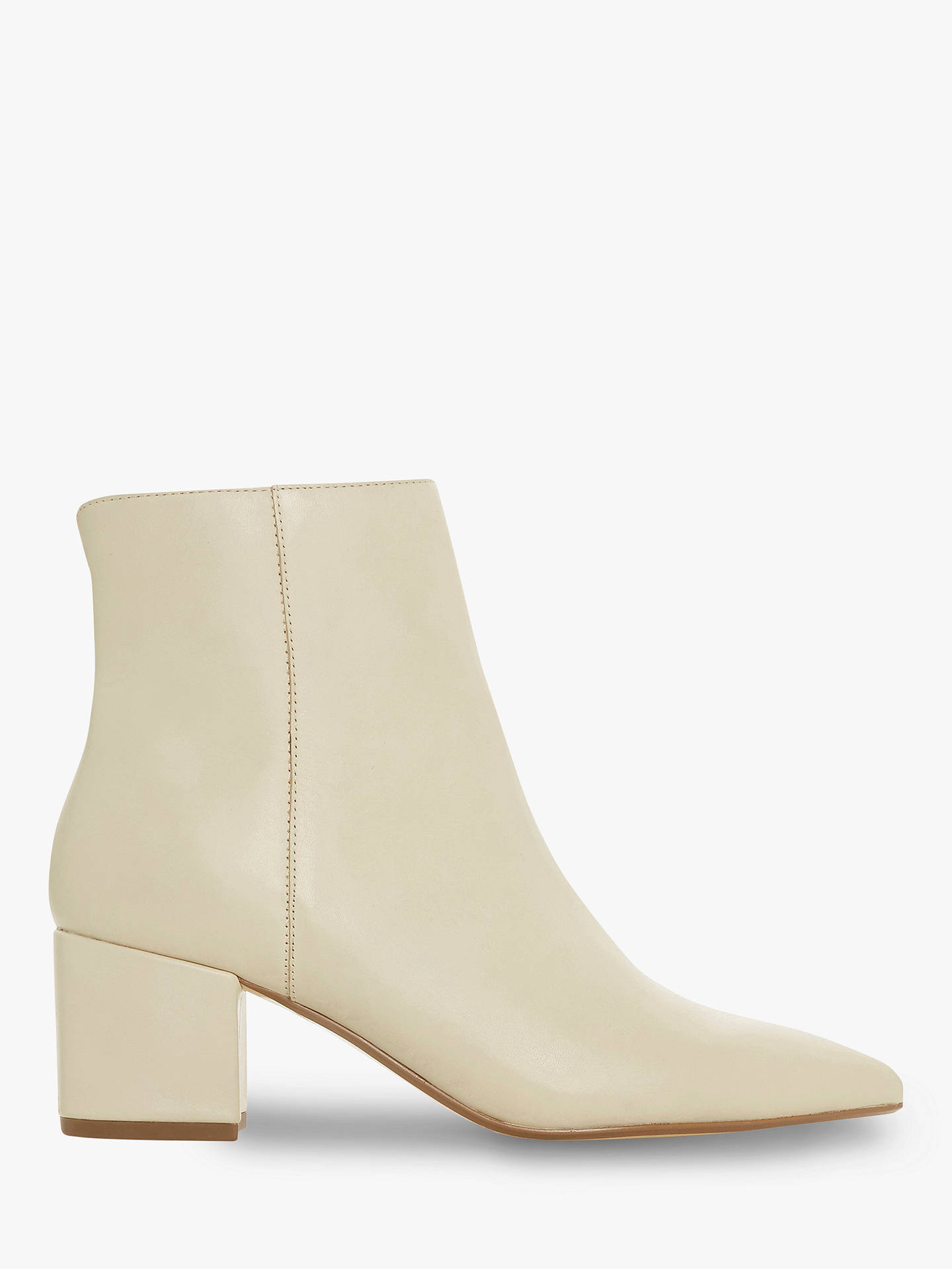 ed211b10694c Buy Dune Omarii Block Heel Ankle Boots, Cream Leather, 6 Online at  johnlewis.