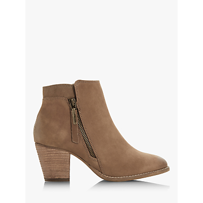 8af1dd50cf6 Dune Pontoon Wide Fit Stacked Heel Ankle Boots, Taupe Nubuck ...
