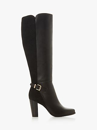 Dune Samuella Block Heel Knee High Boots, Black Leather