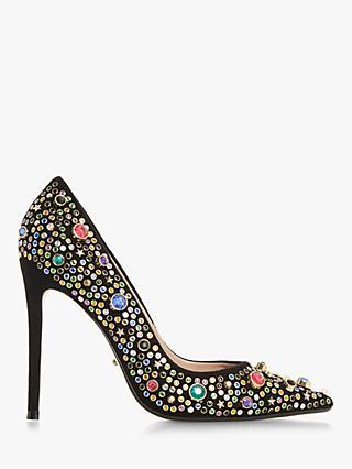 Dune Treasure Chest Bejewelled Stiletto Court Shoes, Black/Multi Suede