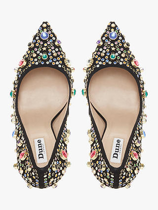 Buy Dune Treasure Chest Bejewelled Stiletto Court Shoes, Black/Multi Suede, 5 Online at johnlewis.com