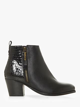 Dune Wide Fit Peerson Leather Block Heel Ankle Boots