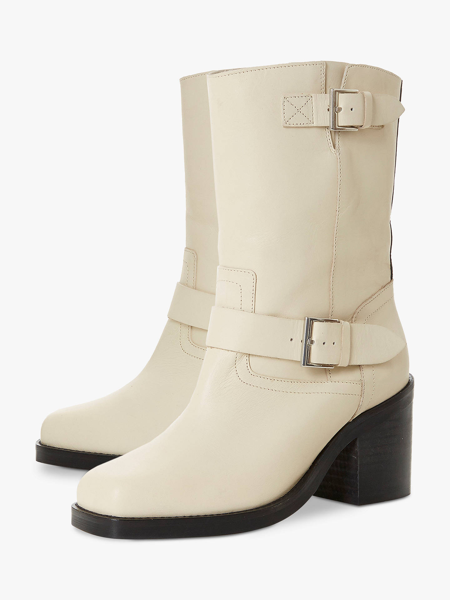 BuyDune Romeo Double Buckle Calf Boots, Cream Leather, 3 Online at johnlewis.com