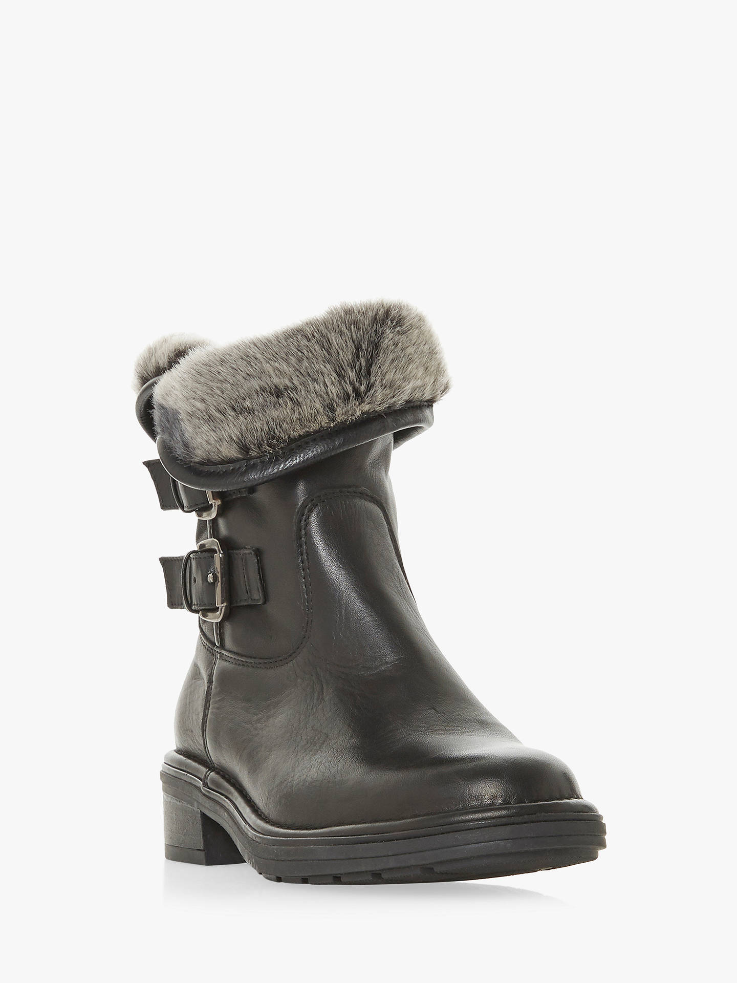 Buy Dune Rita Leather Warm Lined Calf Boots, Black, 8 Online at johnlewis.com
