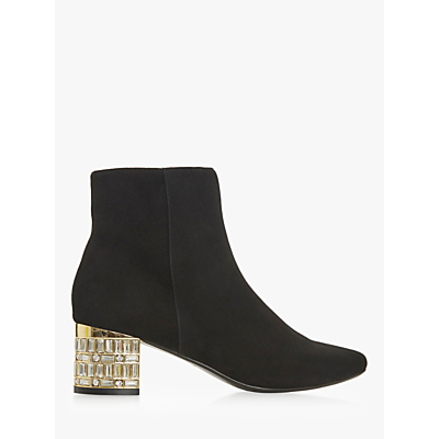 Dune Onaa Embellished Mirrored Block Heel Ankle Boots, Black Suede
