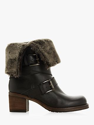 Dune Roko Block Heel Ankle Boots, Black Leather