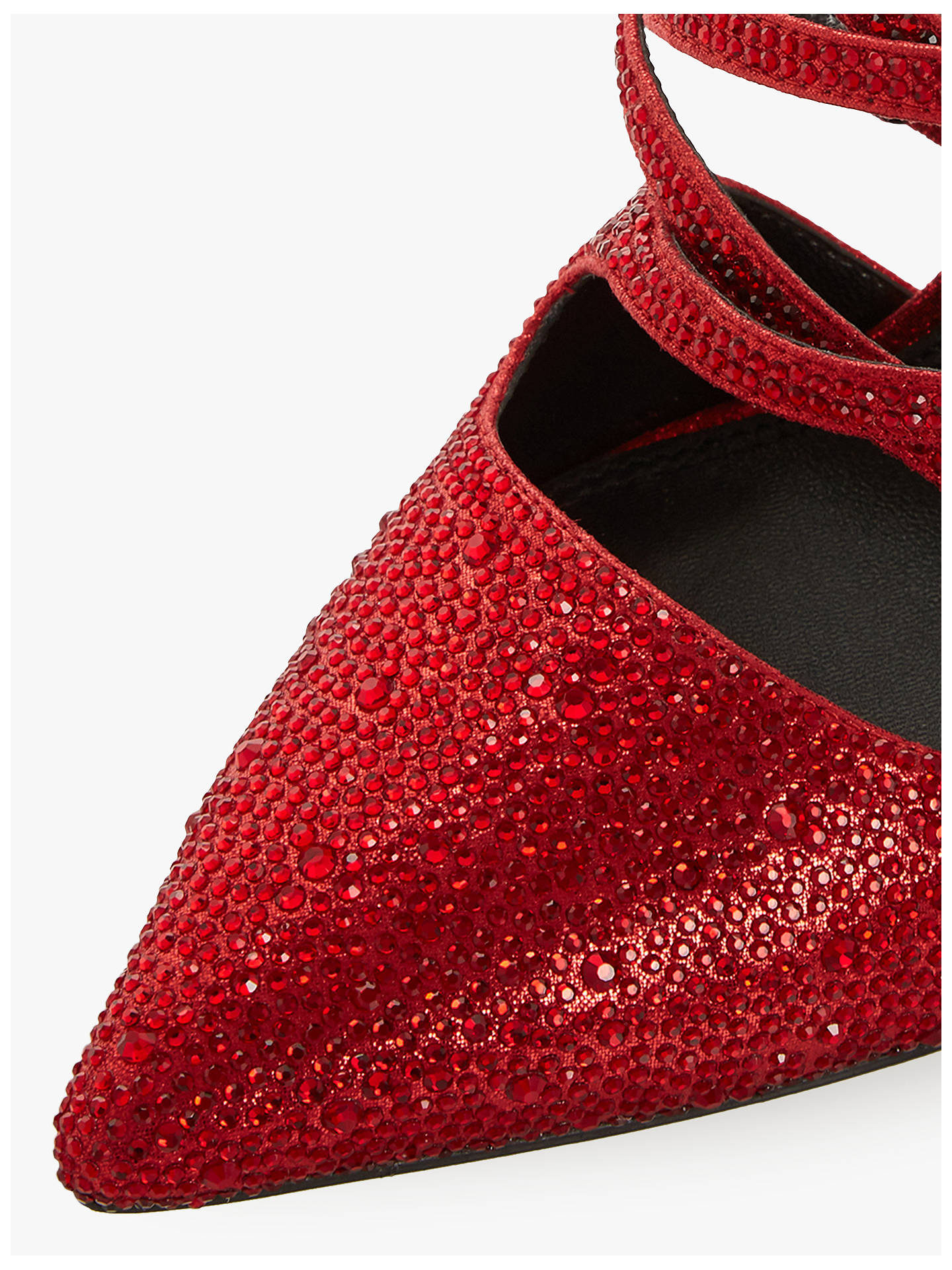 Buy Dune Charlotta Embellished High Heel Mule Court Shoes, Red, 3 Online at johnlewis.com