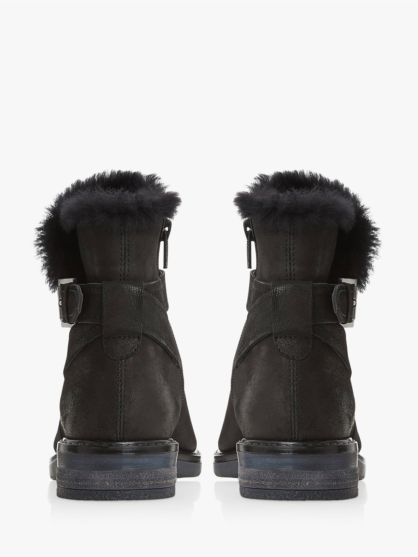 shades of sold worldwide shopping Dune Persue Nubuck Fur Lined Ankle Boots, Black at John ...