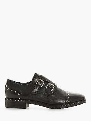 Dune Gryffin Buckle Up Stud Detail Brogues, Black Leather