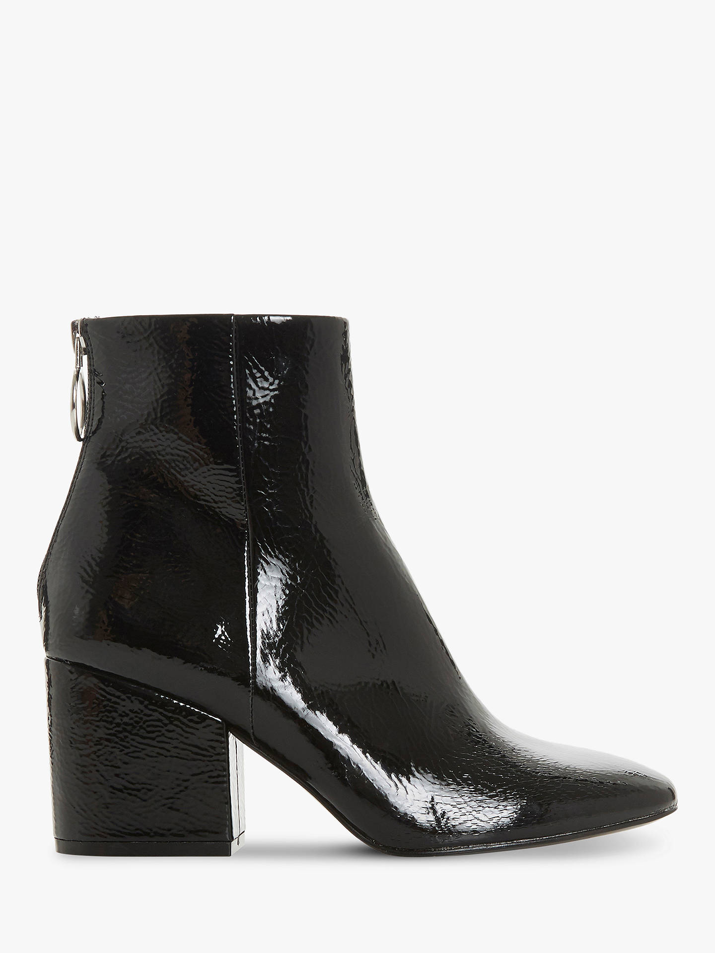 BuySteve Madden Break O-Ring Patent Block Heel Ankle Boots, Black, 3 Online at johnlewis.com