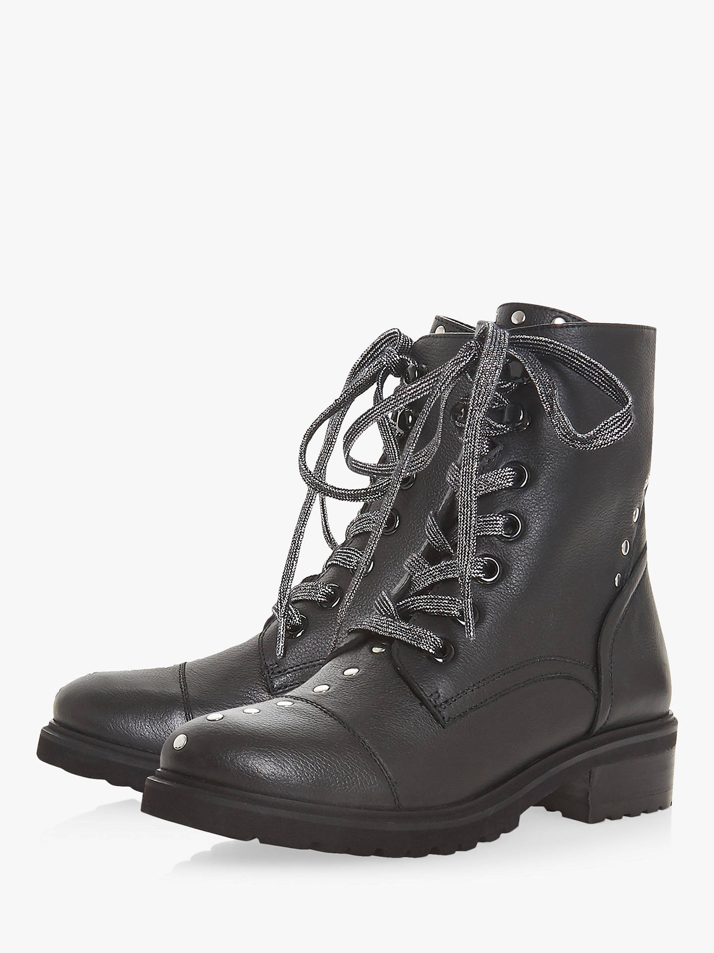 Buy Steve Madden Irofi Lace Up Ankle Boots, Black Leather, 3 Online at johnlewis.com