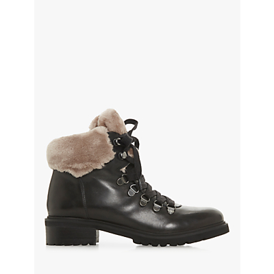 Steve Madden Tree SM Faux Fur Collar Calf Boots, Black Leather