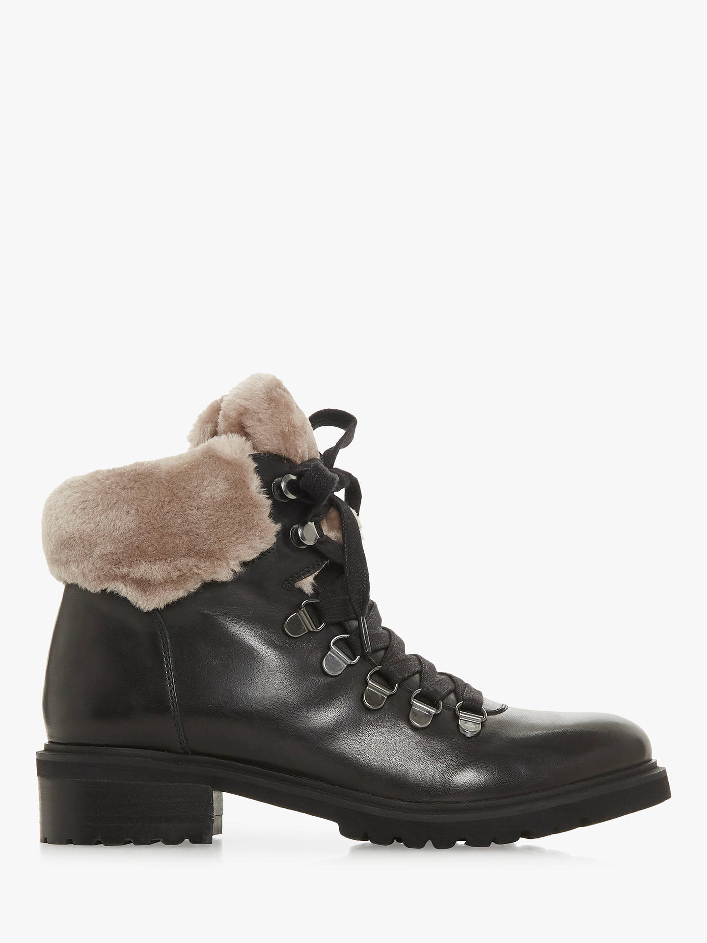 badb6275e0c Steve Madden Tree SM Faux Fur Collar Calf Boots, Black Leather at ...