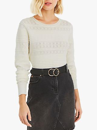 Oasis Amelia Textured Jumper, Off White
