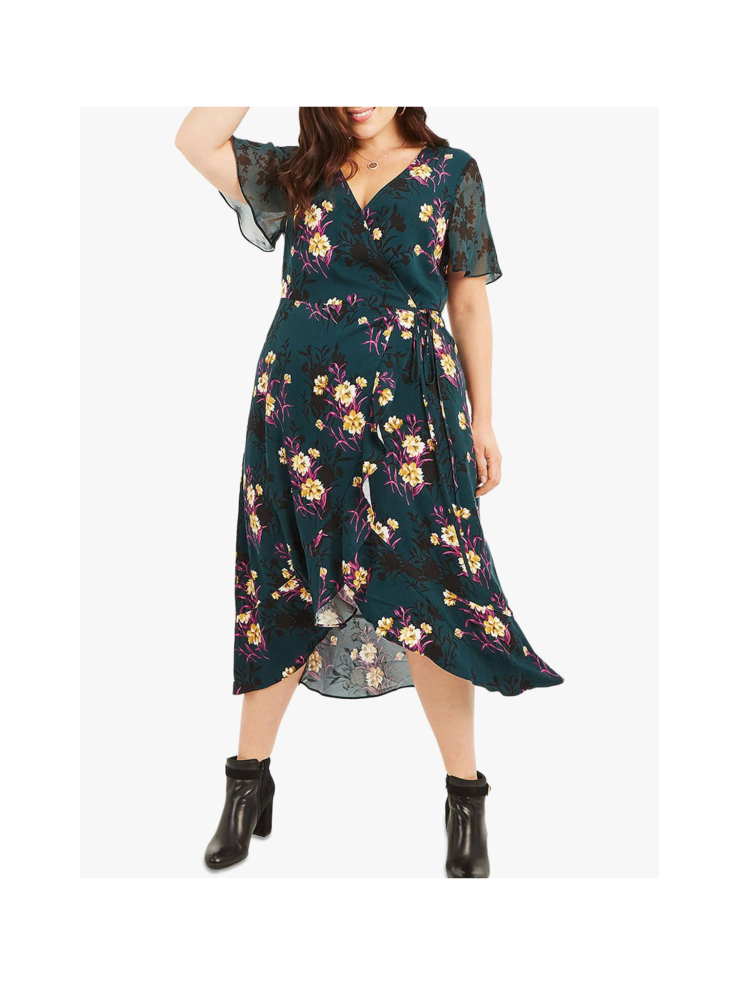 8bfd310b596e Buy Oasis Curve Frieda Wrap Midi Dress, Green Multi, 18 Online at johnlewis.