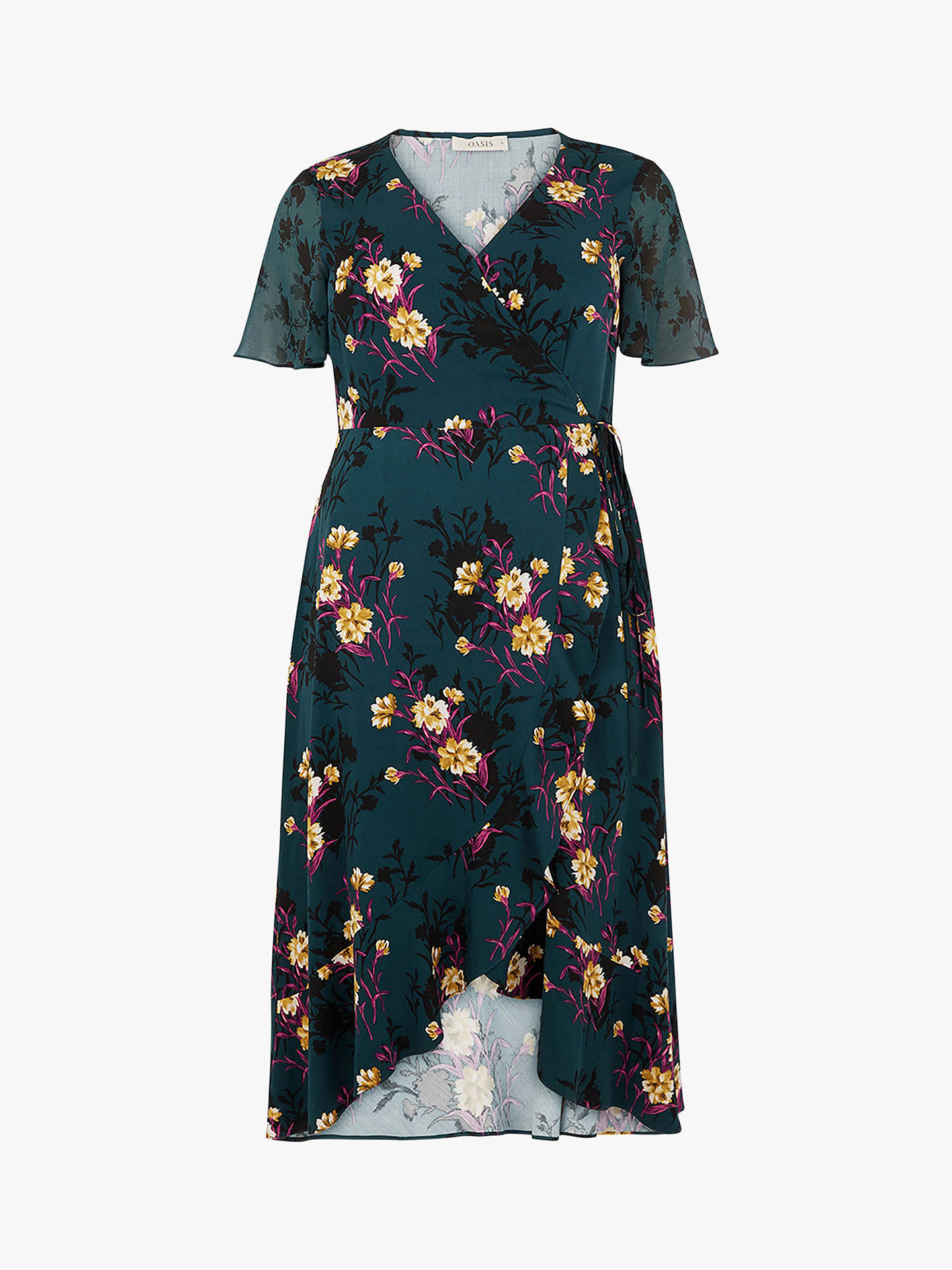 buyoasis curve frieda wrap midi dress green multi 18 online at johnlewiscom