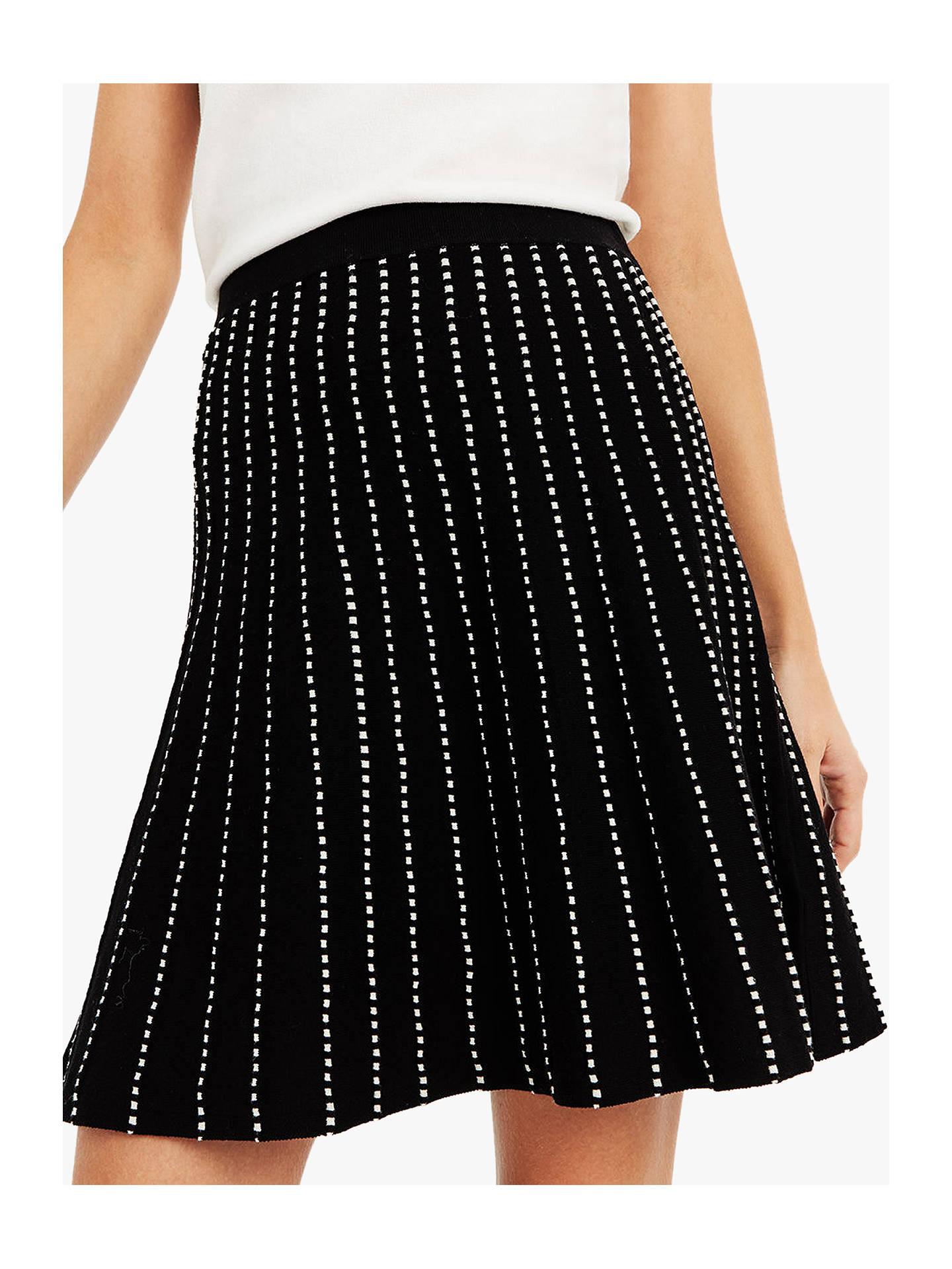 ead9fc90595c Buy Oasis Julia Line And Dot Knitted Skirt, Black/White, S Online at ...