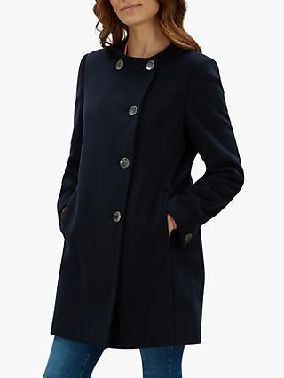 d10ef96b421 Jaeger Collarless Gunmetal Button Wool Coat