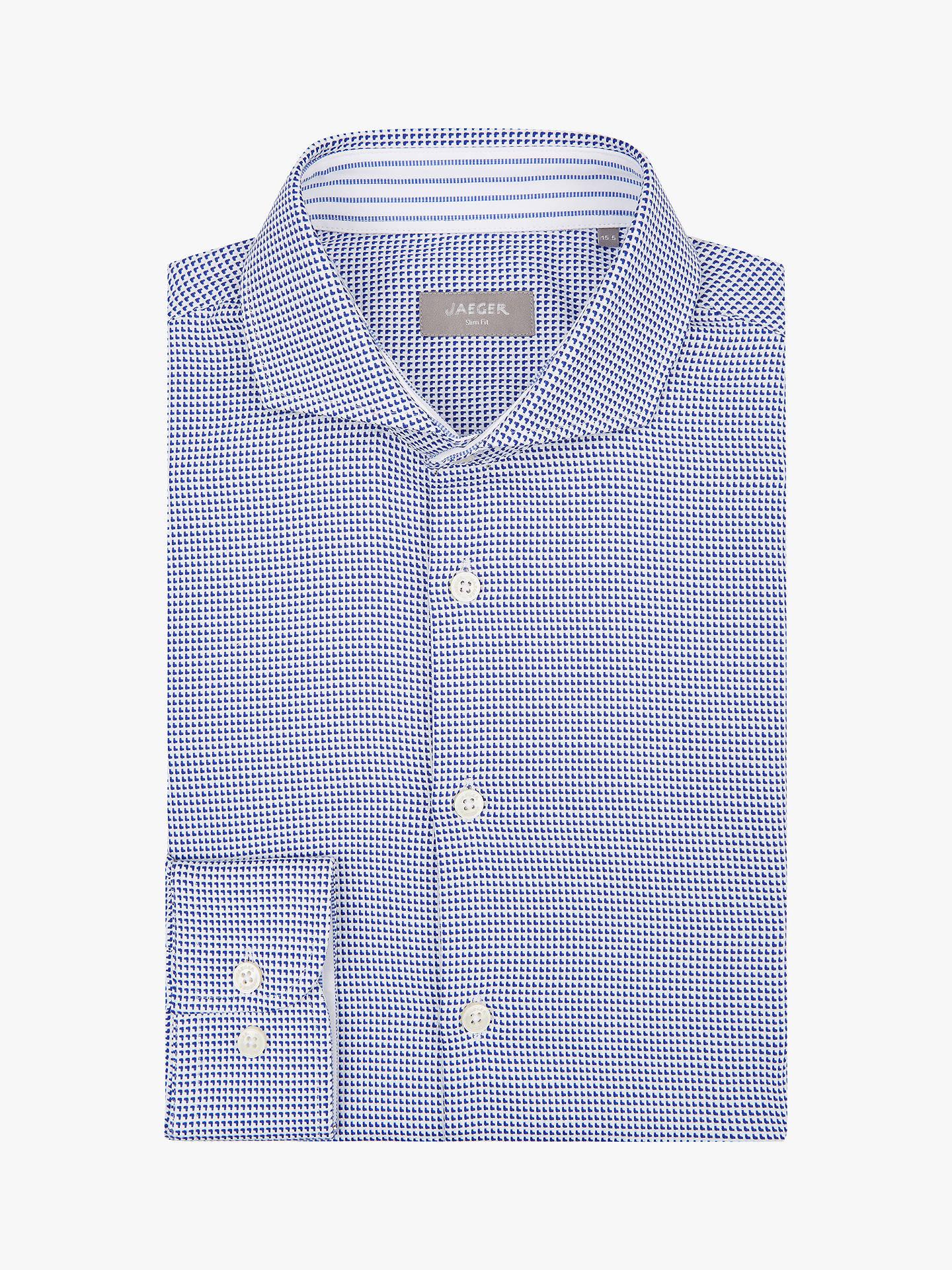 7c3104fbe440 Buy Jaeger Patterned Texture Slim Fit Shirt, Indigo, 14.5 Online at  johnlewis.com ...