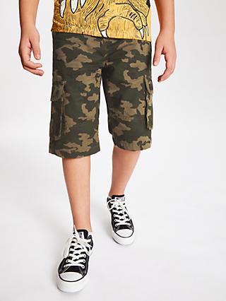 3ed9b6de8d916 John Lewis & Partners Boys' Camouflage Cargo Shorts, Green